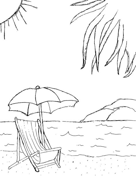 Coloring Pages Beach Chair Coloring Pages Themed Coloring Pages Free