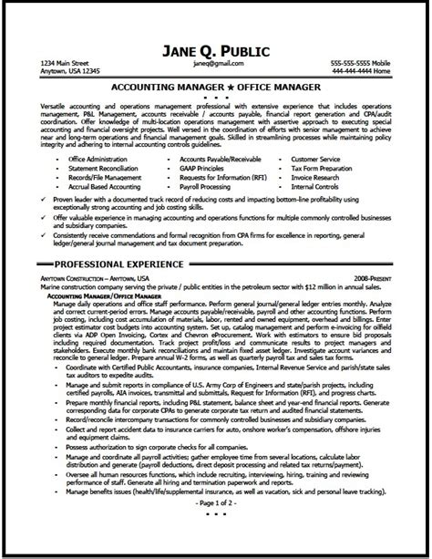 Account Manager Resume Exles by Accounting Manager Resume Sle The Resume Clinic