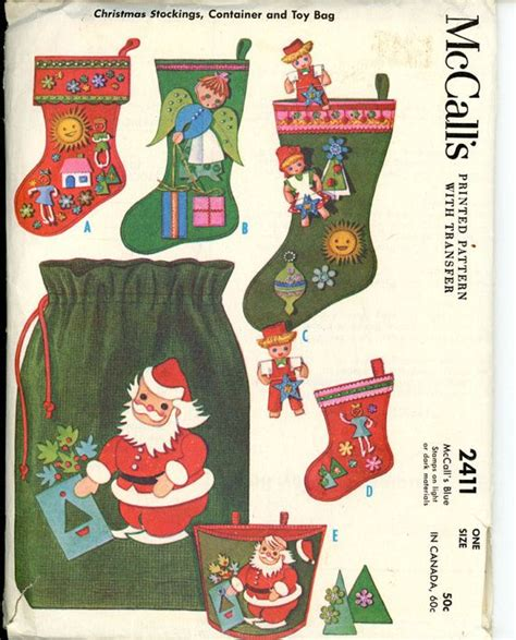 mccalls patterns for christmas stocking mccalls 2411 1960s christmas stocking pattern appliqued