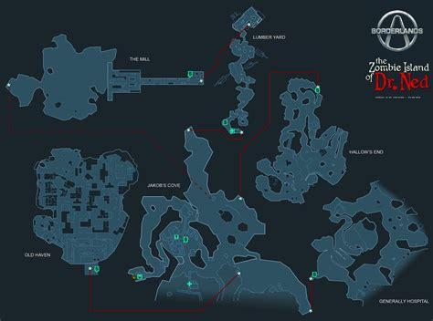 borderlands claptrap locations borderlands zombie island of dr ned world map