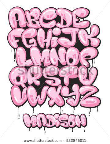 graffiti bubble shaped alphabet set graffiti letras