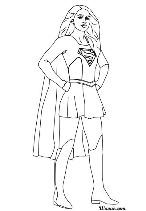 Coloriage Supergirl par Melissa Benoist à imprimer et colorier