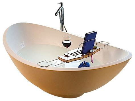 umbra aquala bathtub caddy bamboo with built in wine