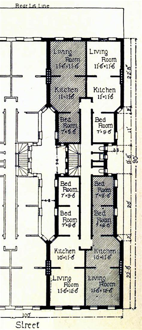 Townhome Floor Plan by No 2137 Tenement Houses