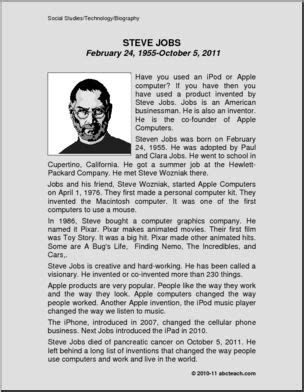 biography of steve jobs for students biography technology steve jobs primary abcteach