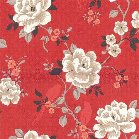 oriental floral birds wallpaper red cream black