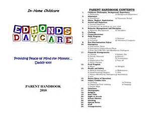Family Day Care Parent Handbook Template by Home Daycare Schedule In Home Childcare Daycare The