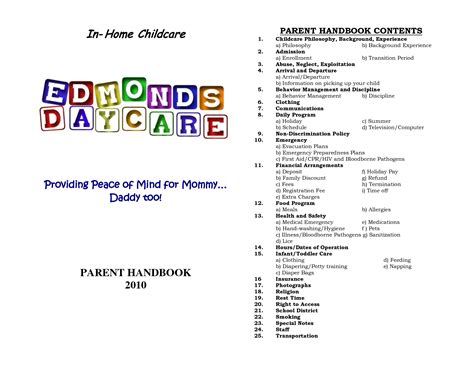 Home Daycare Schedule In Home Childcare Daycare The Business Pinterest Daycare Home Daycare Emergency Plan Template