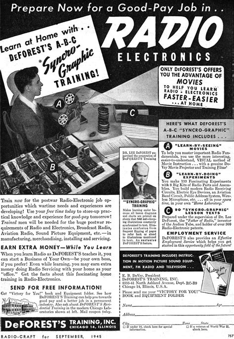 de Forest's Syncro-Graphic Training Ad, September 1945