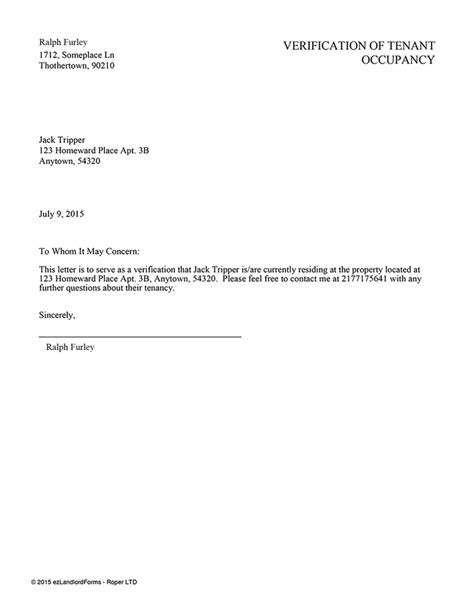 Residential Proof Letter Template proof of residency letter from landlord docoments ojazlink