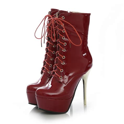 cheap winter fashion toe lace up platform stiletto