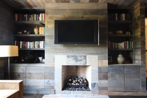 Rustic electric fireplace living room rustic with tv above