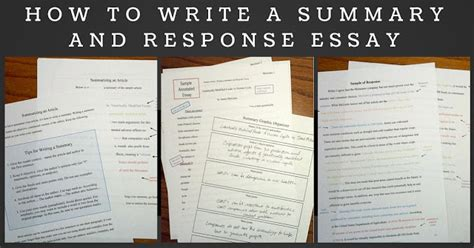 how to write a summary response paper composition classroom summary and response writing