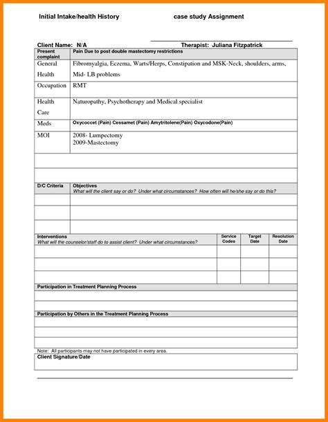 5 counseling treatment plan template hostess resume