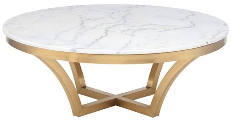 nuevo coffee table in brushed gold base and white