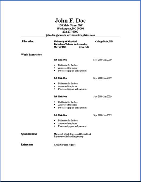 Resume Basics Format by Basic Resume Templates Resume Templates