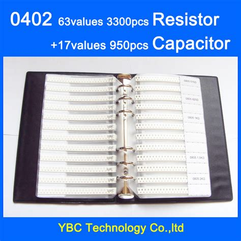 0402 resistor values free shipping 0402 smd sle book 63values 3300pcs resistor kit and 17values 950pcs capacitor