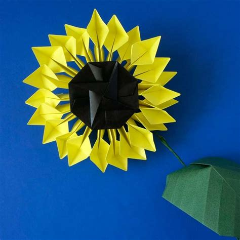Sunflower Origami - origami prints shop high quality origami prints