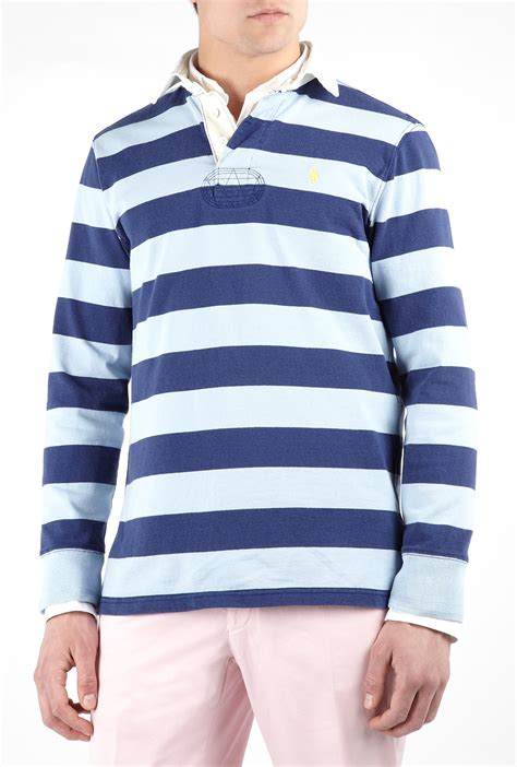 Olanavy Sky Blue Stripe T3010 polo ralph navy sky striped rugby top in blue for navy lyst
