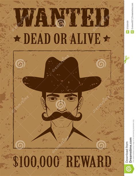 western poster wanted dead or alive royalty free stock