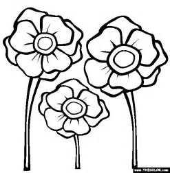 Poppies Coloring Page  Free Online sketch template