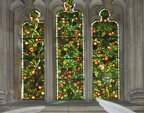 Elizabeth Morris Stained And Decorative Glass tree of with pomegranates and apples by william morris