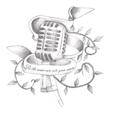 microphone tattoo sketch 17 microphone tattoo drawings