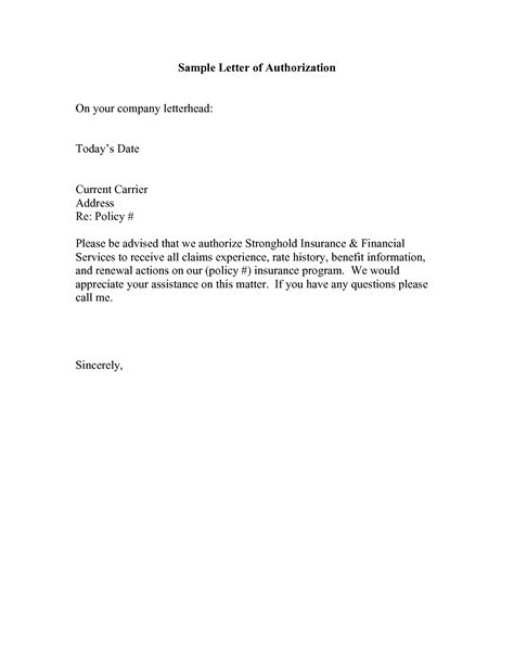 Authorization Letter Business Authorization Letter Best Business Template