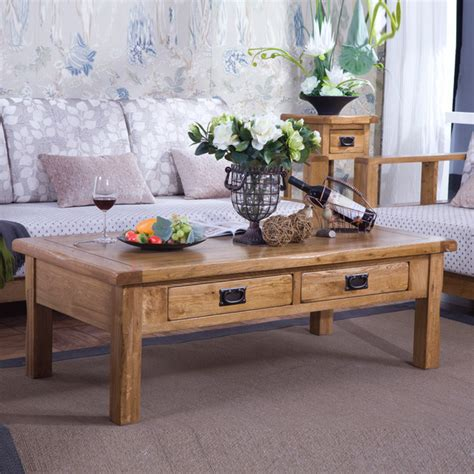 Table De Salon Rustique by Solide Table Basse En Bois Quatre Tiroirs Table Basse