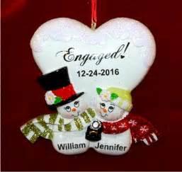 blissful engagement christmas ornament