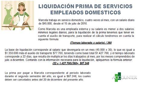 liquidacion de prima en el servicio domestico 2016 liquidacion de una empleada domestica por dias 2016 en
