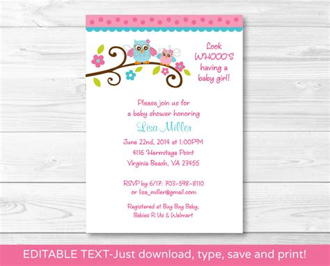 Baby Shower Pdf by Owl Printable Baby Shower Invitation Editable Pdf Ebay