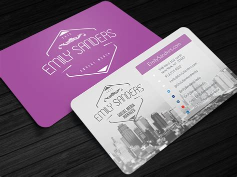 Social Media Business Cards Template by Social Box Social Media Business Card Photoshop Template