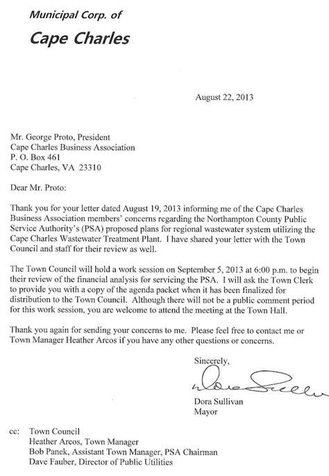 Letter For Business Association Letters Between Business Association Mayor Worth A Read Cape Charles Wave