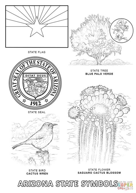 az coloring pages arizona state symbols coloring page free printable