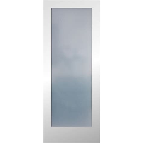 Shop Reliabilt Primed 1 Panel Solid Core Frosted Glass Interior Doors With Frosted Glass