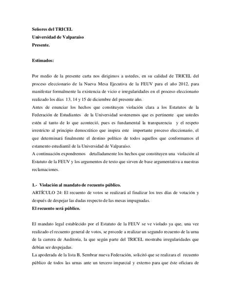 carta formal queja reclamo formal tricel lista b sembrar