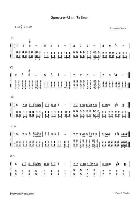 Alan Walker Spectre Chords | spectre alan walker numbered musical notation preview 1