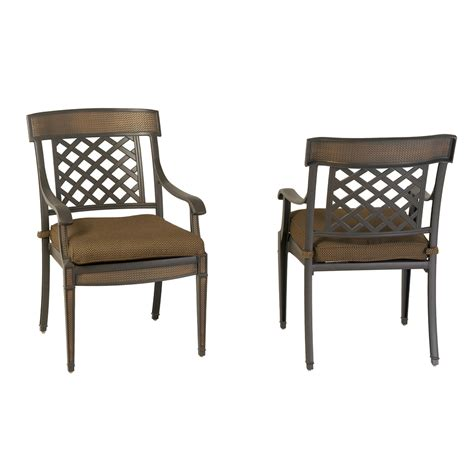Patio Chair Set Of 2 Shop Garden Treasures Set Of 2 Herrington Aluminum Patio Dining Chairs At Lowes