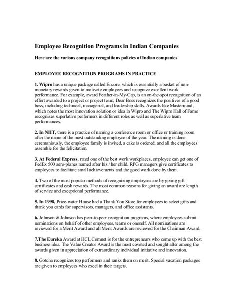 Employee Recognition Programs In Indian Companies Speech For Employee Recognition