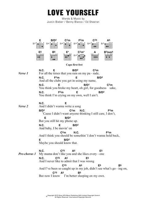 Love Yourself by Justin Bieber - Guitar Chords/Lyrics