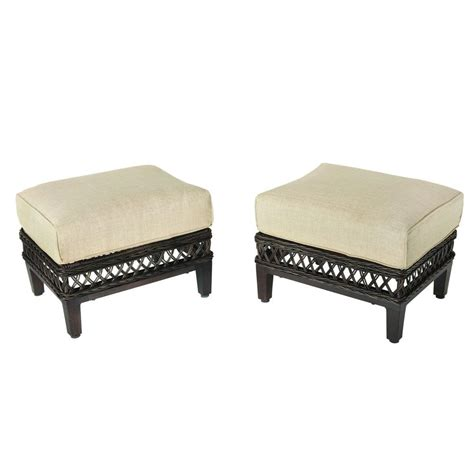 patio furniture with ottomans hton bay woodbury patio ottoman with textured sand