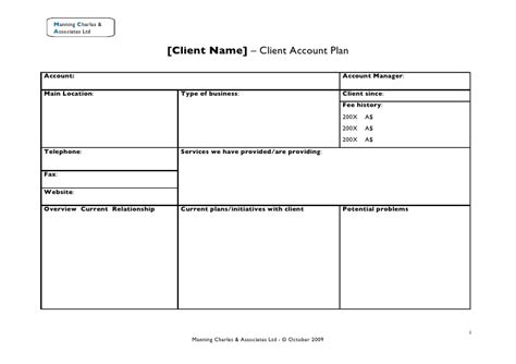 28 client plan template client account plan sle account