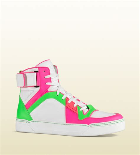 neon high top sneakers gucci neon leather high top sneaker for lyst