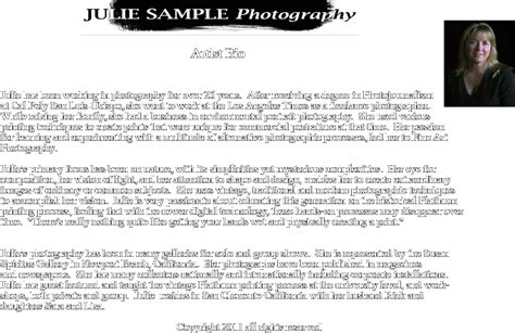 photography bio template julie sle artist bio