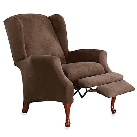 sure fit wing chair recliner slipcover buy sure fit 174 stretch suede wing recliner cover from bed
