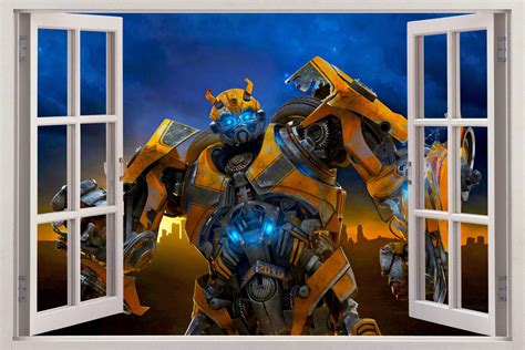 bumblebee transformers 3d window view decal wall sticker home decor mural ebay