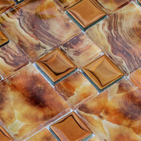 sle copper metal pattern textured glass mosaic tile crystal glass tile kitchen wall tiles metal coating tile