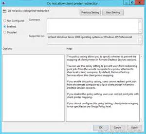 rdp redirection how to disable remote desktop printer mapping 250 hello