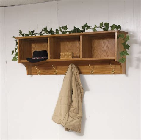 amish traditional hanging wall shelf with storage and coat